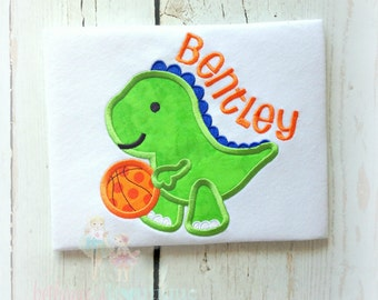 Boys Basketball Dino Applique Shirt- Green Dinosaur holding Basketball- Sports dino- Custom Boys Shirt