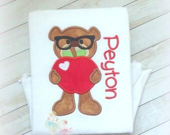 Back to school shirt- Teddy bear holding apple-  Pre-K shirt- Kindergarten shirt- 1st Grade shirt- school days teddy bear personalized shirt