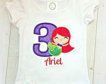 Mermaid birthday shirt - red haired mermaid birthday shirt - girls birthday shirt - mermaid theme birthday - personalized mermaid shirt