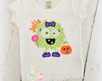 Halloween monster shirt - girls Halloween monster shirt - little monster - 1st Halloween shirt for girls - embroidered monster shirt