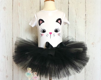 Black cat outfit - Halloween black cat costume - cat tutu outfit - girls black cat outfit - Halloween costume - black tutu with cat face