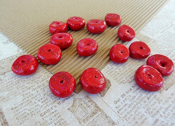 Large Red Beads Donut Beads Large Hole Beads Sparkly
