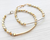 Silver and gold bracelet, set of two - stackable bracelets, beaded bracelet, silver bead bracelet, gold bead bracelet, layering jewelry boho