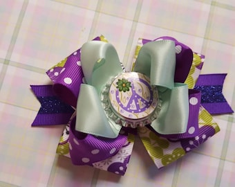 NEW HoT ITEM // Purple Peace Cutie / Boutique Layered Hair Bow // No Slip Grip Avail Upon Request // 3.5 inch size // Bow Is Ready To SHIP
