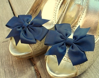 Wedding Shoe Clips, Bridal Shoe Clips, Grosgrain Bow Shoe Clips, Navy Blue Shoe Clips, Navy Blue Bows, Shoe Clips for Wedding Shoes,