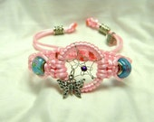 Dream Catcher Braided Bracelet Pink with Butterfly