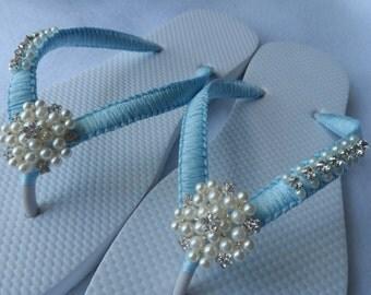 Wedding Color Flip Flops / Bridal Pearls Sandals /Turquoise Color Bridesmaid Shoes / Rhinestone & Pearls Flip Flops..