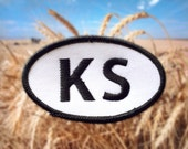 """Kansas KS Patch - Iron or Sew On - 2"""" x 3.5"""" - Embroidered Oval Appliqué - Sunflower State - Black White - Hat Bag Accessory - Handmade USA"""
