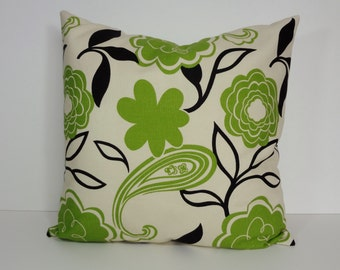 Designer Pillow Cover, Green, Decorative Apple Green and Black Pillow Cushion, Home Collections by MM Designs,  18 x 18, Flowers