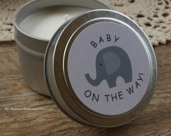 10 Soy tin candle favors baby shower favors shower favors custom shower favors baby elephant baby shower Montana made candle favors