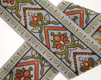 Botanic Woven Jacquard Trim 1.5 inches wide - One, Two, Five, or Ten Yards