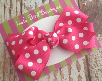 Large Boutique Style Hairbow - Hot Pink Polka Dot - Ready to ship!