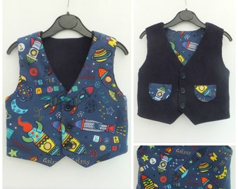Boy's Vest, Boy's Reversible Vest, Boy's Waistcoat, Boy's Reversible Waistcoat, Boy's Clothing, Child's Clothing, Toddlers Vest, Rockets