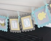 """Baby Shower """"Mommy to Bee"""" Boy Birds and Bees Custom Banner - Yellow Blue Grey - Matching Cupcake Toppers, Door Sign, Centerpiece Available"""