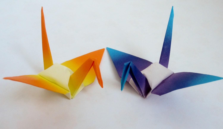 100 Shaded Small Japanese Origami Crane Paper Crane Origami - photo#8