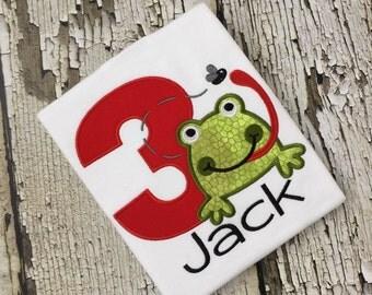 Frog Birthday Shirt - Boys Personalized Frog Shirt - Frog Tshirt - Monogrammed Frog Shirt - Frog Fly Birthday Shirt