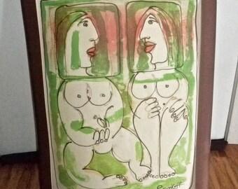 "Vintage Print by YANNI POSNAKOFF ""AGAPE"" Rare"