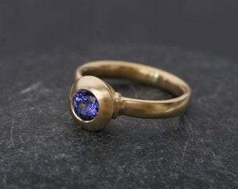 Blue Gemstone Engagement Ring - 18K Gold Tanzanite Ring - Size 5.5 Tanzanite Ring in 18K Gold - Ready to Ship - Free Shipping