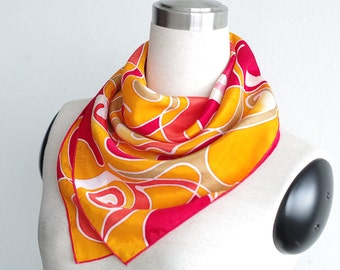 Silk scarf square neckerchief. Orange red small gift for women. Hand painted scarves fiery flames. Silk or cotton summer fashion neck scarf