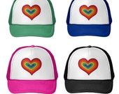 Rainbow Heart Hat, Trucker Hat, Adult Baseball Cap