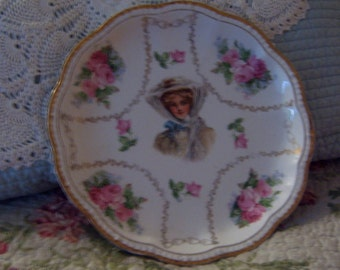 Vintage, Decorative Plate,Victorian Lady,   Shabby Chic, Victorian, Plate, Roses
