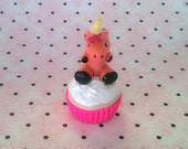 Small Pink Unicorn on a Cupcake Polymer Clay Animal Ooak Gift Figure Figurine Miniature Cute Fantasy Glitter Cake Decoration Topper Birthday