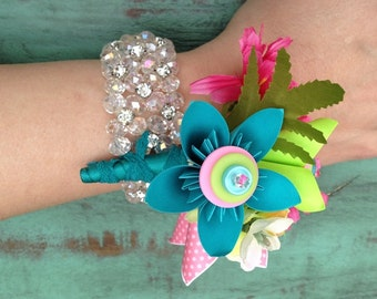 Prom Wrist Corsage Mini Paper Flowers in Hot Pink, Teal and Lime Green