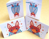 Bats folded gift tags pack of 4 peel-off tags