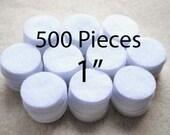 1 Inch Die Cut Felt Circles in White, Bulk Set of 500