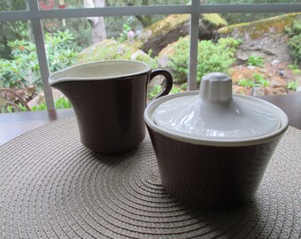 Vintage USA Pottery Brown and White 3-Piece Cream & Sugar Set