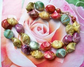 "Gumdrop CANDY NECKLACE 26"" Handpainted Gold Stripes Chunky Yellow Red Purple Teal Green Vintage Jewelry"