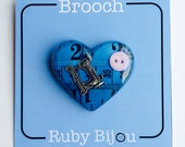 Blue Tape Measure Brooch - Heart Resin All Colours Craft Sewing Jewellery Handmade