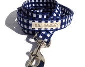 Dog Leash in Navy Gingham  for Small to Large Dogs