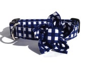Dog Collar and Flower Set in Navy and White Gingham for Small to Large Dogs