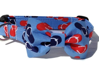 Flip Flops  Dog Bow Tie and Collar Set  for Small to Large Dogs