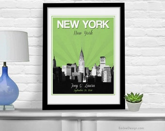 New York City Wedding Gift - Personalized - Anniversary - Custom Date - Location City and State Modern Art Print - 8x10