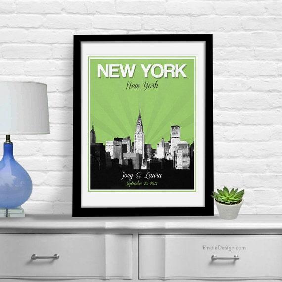 Wedding Gift Nyc : New York City Wedding Gift - Personalized - Anniversary - Custom Date ...