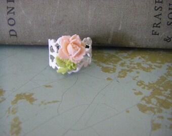 Peach Rose Flower Ring White Peach Flower Ring With Stem Bridal Jewelry Flower Girl Bridesmaids Woodland Wedding