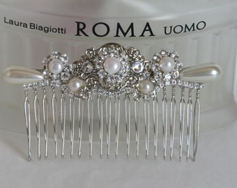 Wedding Hair Comb Bridal Hair Comb Crystals and Pearls Vintage Bridal Comb 1920s Flower Hair Comb Leafs Flowers Headpiece Pearls Hair Piece