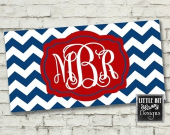 License Plate Chevron Personalized Car License Plate Custom Red White Blue