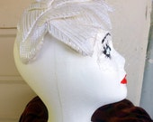 Veiled white and gold petal hat 1950s wedding hat, cosplay hat, cocktail hat, cloche hat,  rockabilly hat
