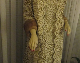 1960's Ladies MINK Cuff JACKET With DRESS Gold /Cream Curly Ribbon Fabric by Sport & Style