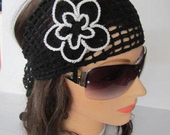 Black Lace Headband Black Crochet Summer Headband Women Lace Headwrap Summer Headcover Women Headband Summer Headband Gift for her