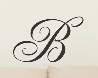 Single Letter Monogram Decal Initial Wall Sticker Vinyl Lettering Removable Wall Decor Decoration Wall Letters Corn Hole Board 18 Inch 18rn
