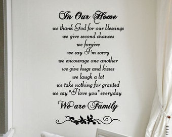 Living Room Wall Decor In Our Home Wall Decal Kids Bedroom Decor Vinyl Lettering Wall Art Quote Decorations Sticker