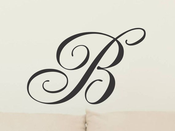 single letter monogram decal initial wall sticker vinyl lettering removable wall decor decoration wall letters corn