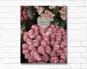 Paris Photograph on Canvas - Faded Roses, Paris, Gallery Wrapped Canvas, Photograph, Romantic Decor, Large Wall Art