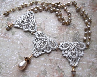 Brass Lace Filigree and Vintage Rosary Chain, Vintage Teardrop in Rose Cap Necklace