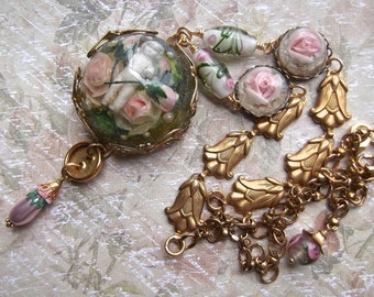 Charlotte in the Pink Garden, Vintage Tulip Chain, Rose Resin Stations and Hand Made Rose Beads