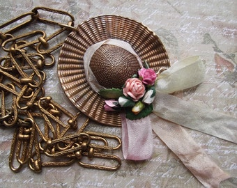 Vintage Summer Bonnet With Flowers and Ribbon And Vintage Textured Chain
